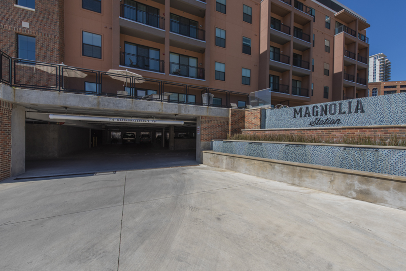 Magnolia Station Lofts Parking Deck Entrance